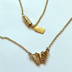 vintage 1928 brand gold tone butterfly necklace